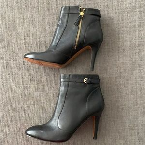 Nine West Main Stay Leather Bootie Heel Black 9